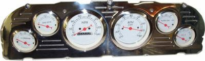 60-63 Chevy Polished Aluminum Dash Panel 6 Gauges – Two 3-3/8″ or 3-1/8″ and 4 Small
