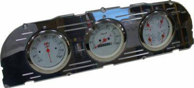60-63 Chevy Polished Aluminum Dash Panel Triple 3-3/8″  Gauges