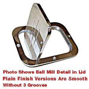 "Billet Aluminum Fuel Filler Door – Large Rectangle – 5 1/4"" X 6 1/2"" – Ball Milled Lid"