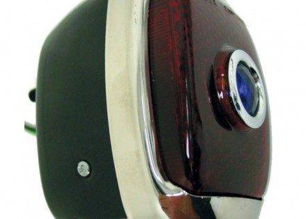 40 – 53 Chevy / GMC Tail Light Assembly – RH – Black Body with Chrome Bezel – Blue Dot