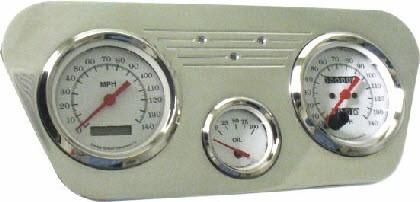"""53-55 Ford Polished Aluminum Dash Panel –  3 Hole – 2 Gauges – 3-3/8"""" & 1 – 2-1/16"""""""
