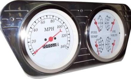 "53-55 Ford Polished Aluminum Dash Panel –  2 Hole – Quad 5 – Two 5"" Holes"