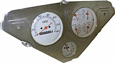 55-59 Chevy Polished Aluminum Dash Panel -Two 3-3/8″  Gauges and One 2-1/16″ gauge