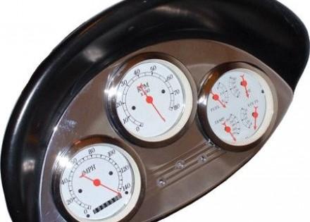 """56 Ford Polished Aluminum Dash Panel –  3 Gauges – 3-3/8""""  – 3 Hole"""