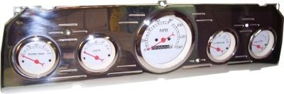 64-66 Chevy Polished Aluminum Dash Panel 5 Gauges – One 3-3/8″ or 3-1/8″ and 4 Small