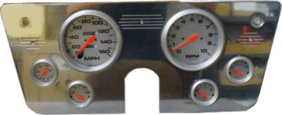 67-72 Chevy Polished Aluminum Dash Panel – 6 Gauges – Two 5″ and Four 2-5/8″ – Fits Autometer Gauges